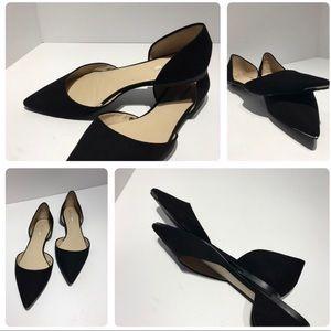 Zara sz 9 black flats with silver toe detail